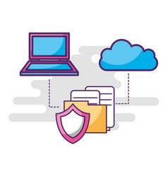 laptop cloud storage shield folder files vector image