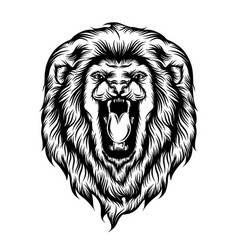 Lion head opened his mouth vector