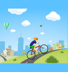 Man rides a bicycle down the street vector
