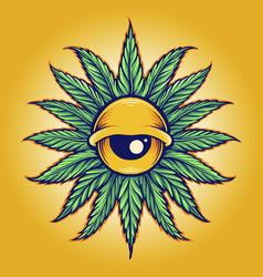 Mandala leaf cannabis eyes vector