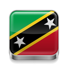 Metal icon of Saint Kitts and Nevis vector image