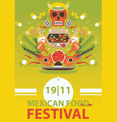 Mexican traditional food festival poster on bright vector
