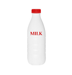 milk bottle in on white background vector image