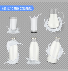 Milk splashes realistic set vector