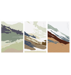 mountain forest elements with abstract background vector image