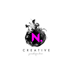 N letter logo design with ink cloud texture vector