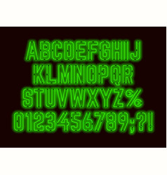 Neon retro green font with numbers and punctuation vector