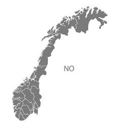 Norway counties map grey vector
