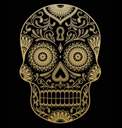 Ornate One Color Sugar Skull vector image