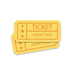 Pair of golden vintage cinema tickets vector
