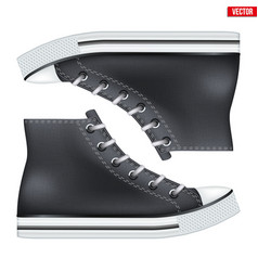 Pair of high top canvas sneaker mockup vector