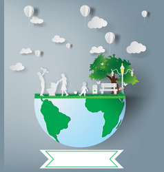 paper art of family and park on green ecology vector image