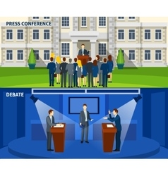Politics two flat banners set vector image