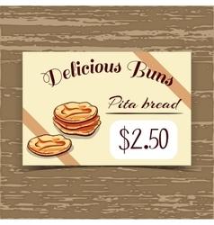 Price Tag Design Pita Bread vector image