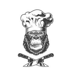 Serious gorilla head in chef hat vector