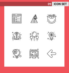 Set 9 outlines on grid for shopping coat space vector