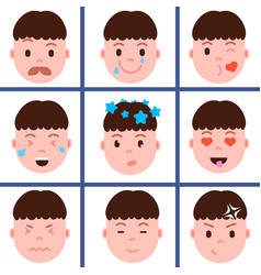 Set boy head emoji personage icon with facial vector