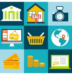 set flat business commerce icons design con vector image