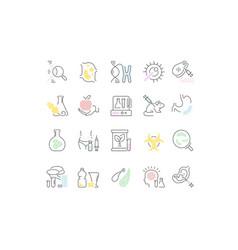 Set line icons genome engineering vector