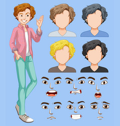 set of man head and facial expression vector image