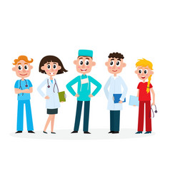 Set of medical staff - doctors nurse and surgeon vector