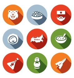 Set of Russia Icons Bear Caviar Soldier vector image