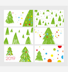 set of six postcards for 2019 new year cute vector image