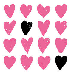 set pink hearts vector image