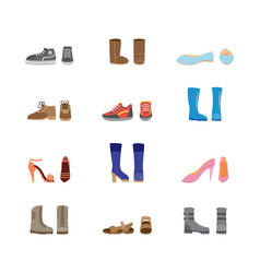 set womens casual boots and shoes icons flat vector image