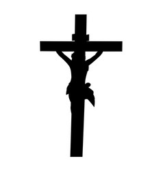 Silhouette jesus crucified vector