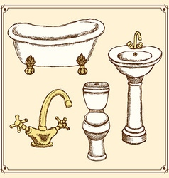 Sketch bathroom equipment in vintage style vector image