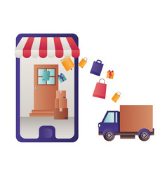 smartphone with tent and delivery car vector image