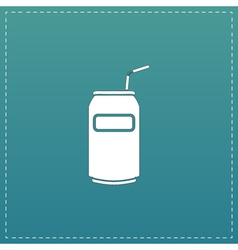 Soda Cans with tube icon vector image