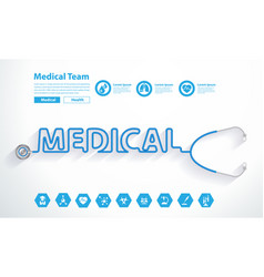 Stethoscope heart with creative medical text vector