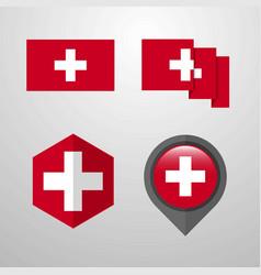 Switzerland flag design set vector