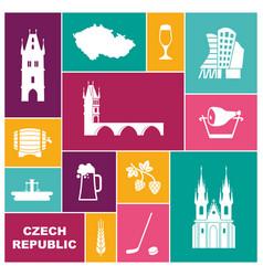 Symbols of the czech republic flat icon vector