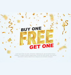 text buy one get one free on light background vector image