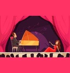 Theater opera performance flat vector