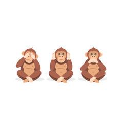 Three cartoon monkey sitting with closed eyes vector