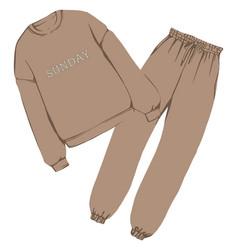 Trendy sports suit warm sweatshirt and pants vector