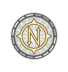 True north compass retro vector