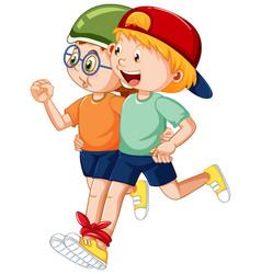 Two kids running three legged race vector