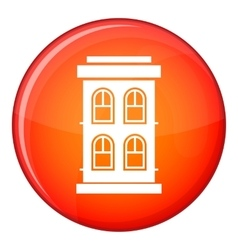 Two-storey house with large windows icon vector