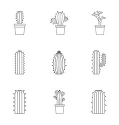 Types of cactus icon set outline style vector