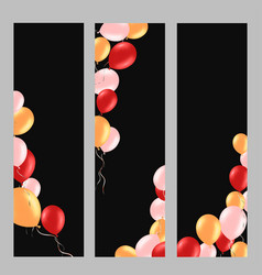 vertical banner with colorful helium balloons vector image