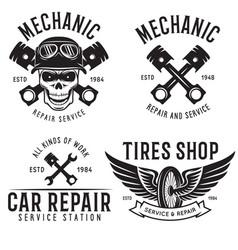 vintage car service badges templates emblems vector image