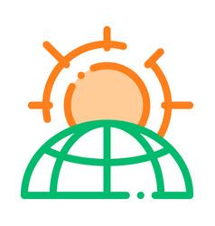 warming sun planet problem thin line icon vector image