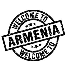 welcome to armenia black stamp vector image