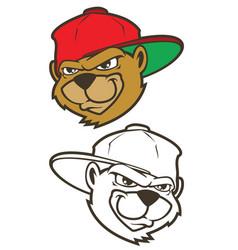 cartoon bear character with cap vector image