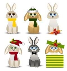 christmas rabbits set vector image vector image